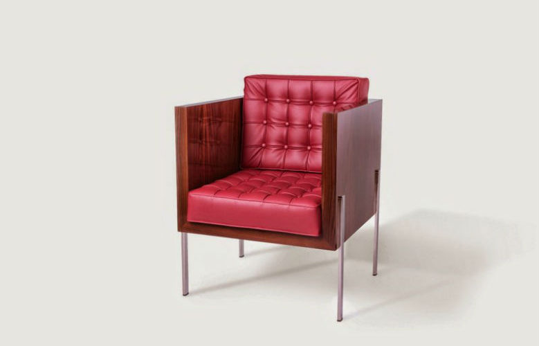 Post Deco Leather Armchair